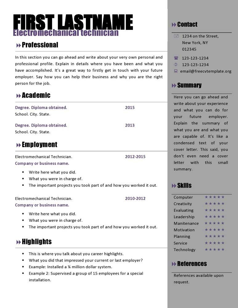 Resume Template Word Download Free Curriculum Vitae Templates 466 to 472 – Free Cv