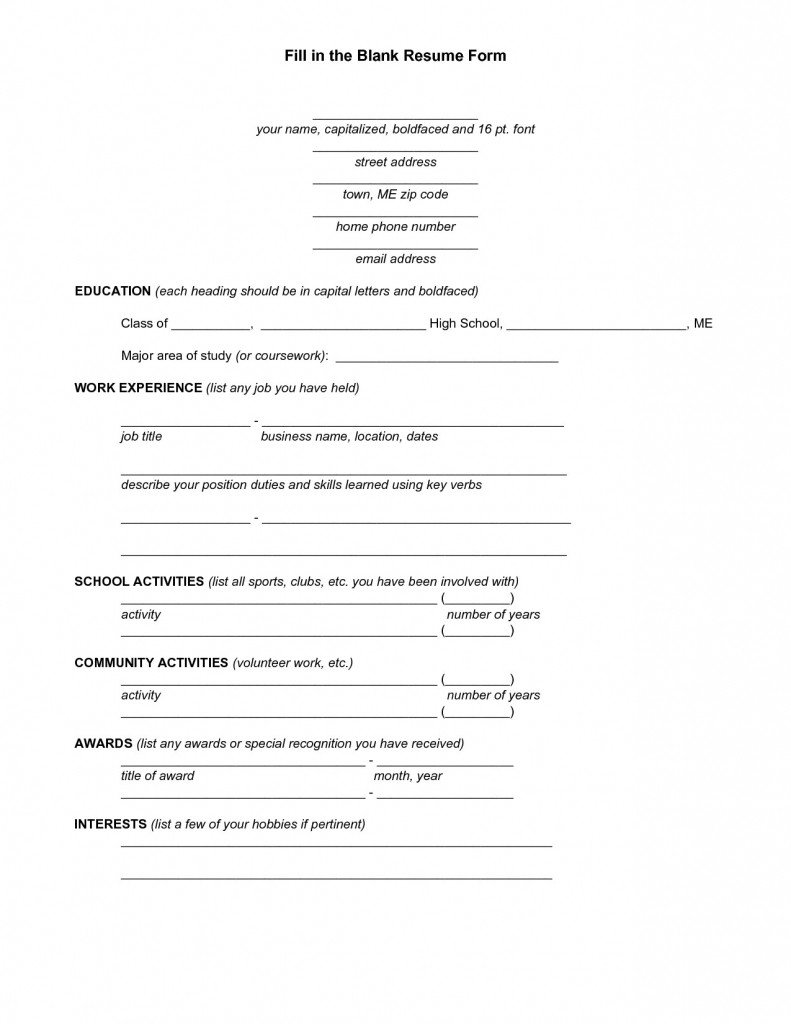 Resume Templates Free Printable Free Printable Fill In the Blank Resume Templates