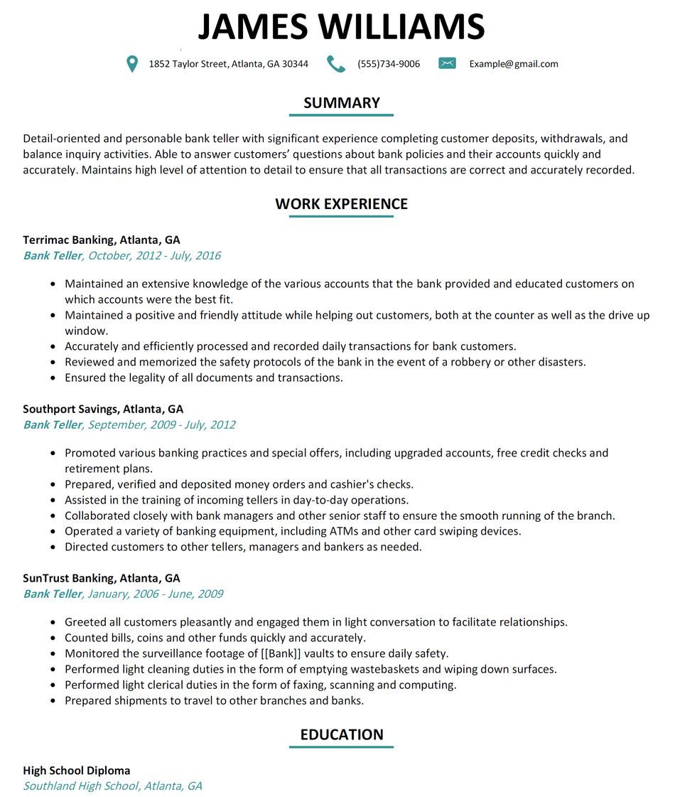 Resumes for Bank Teller Bank Teller Resume