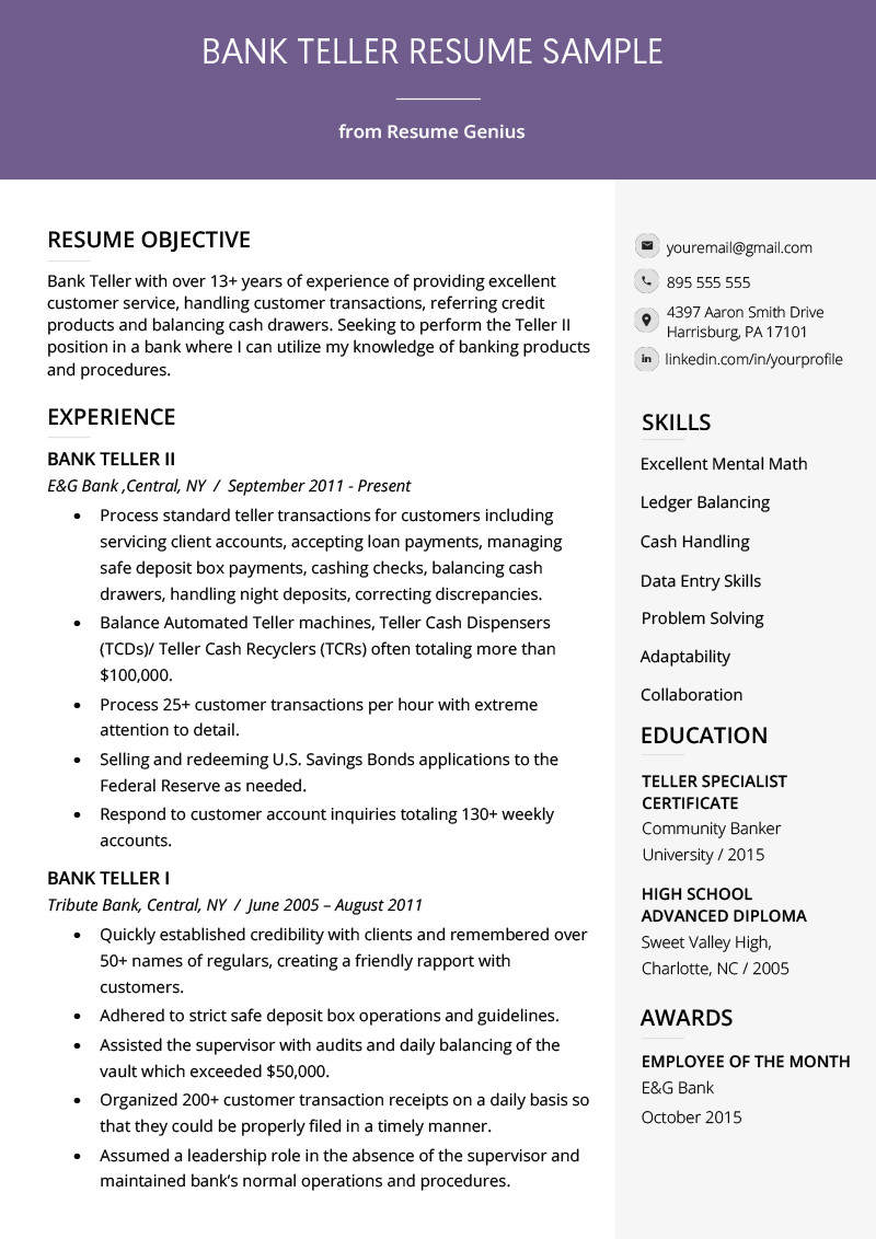 Bank Teller Resume Sample & Writing Tips