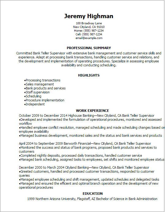 Resumes for Bank Teller Bank Teller Supervisor Resume Template — Best Design