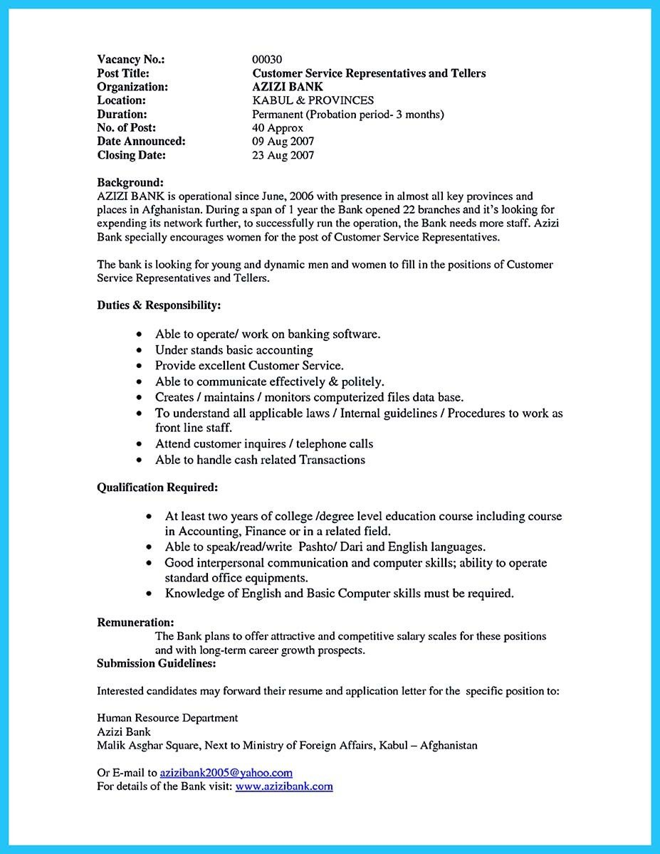 Resumes for Bank Teller Learning to Write From A Concise Bank Teller Resume Sample