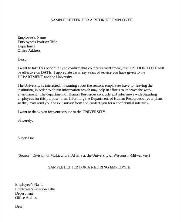 Retirement Letter 7 Free PDF Documents Dpwnload