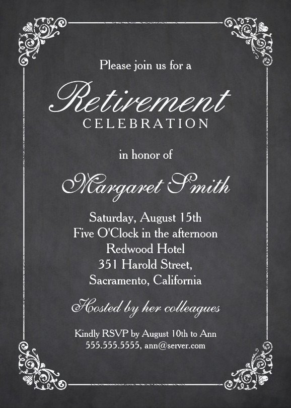 Retirement Party Invitations Template Elegant Chalkboard Retirement Party Invitation Template
