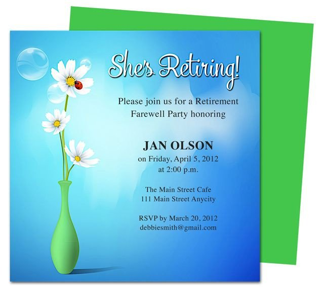 Retirement Party Invitations Template Printable Diy Vase Retirement Party Invitations Templates