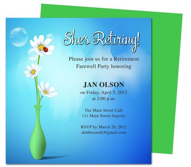Retirement Party Invitations Templates Printable Diy Vase Retirement Party Invitations Templates