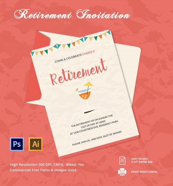 Retirement Party Invitations Templates Retirement Party Invitation Template 36 Free Psd format