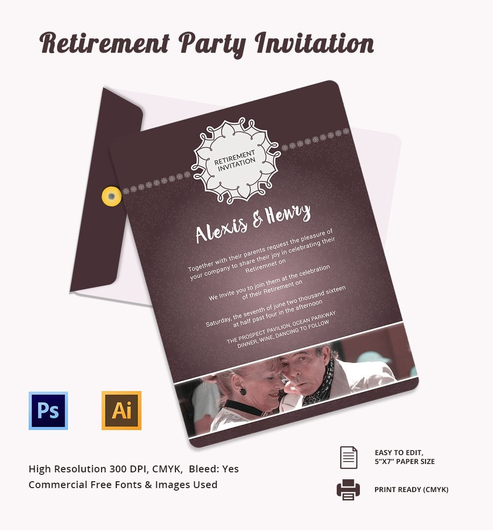 Retirement Party Invite Template Retirement Party Invitation Template – 36 Free Psd format