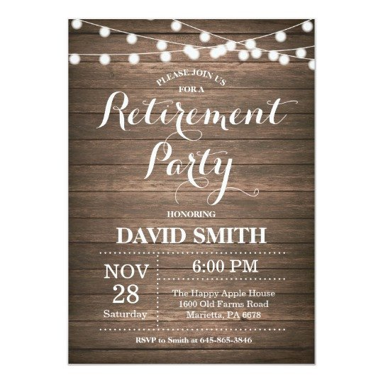Retirement Party Invite Template Rustic Retirement Party Invitation Card