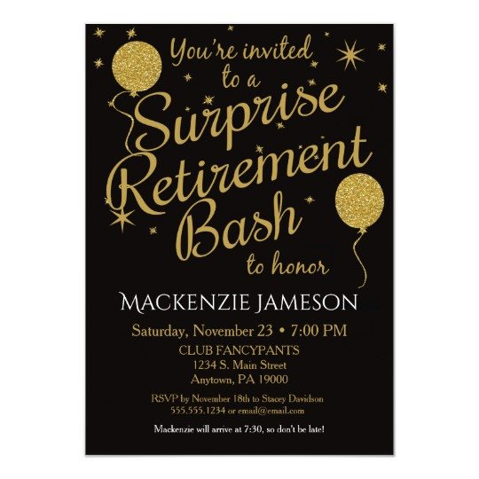 Retirement Party Invite Template Surprise Retirement Party Invitation Gold Balloons