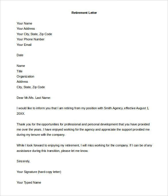 30 Retirement Resignation Letters Samples | Simple Template ...