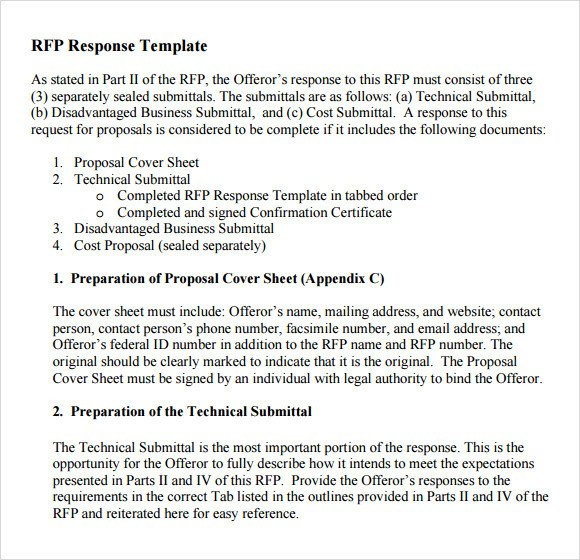 Sample RFP Response Template 8 Free Documents in PDF