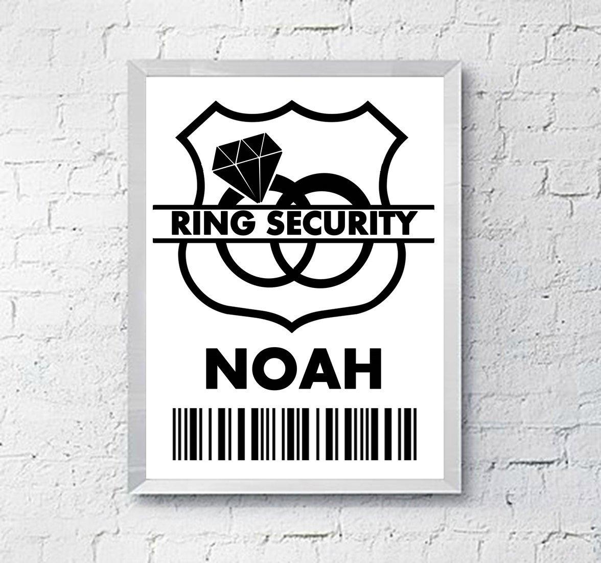 Ring Security Badge Template Wedding Ring Security Badge Ring Bearer Gift Digital