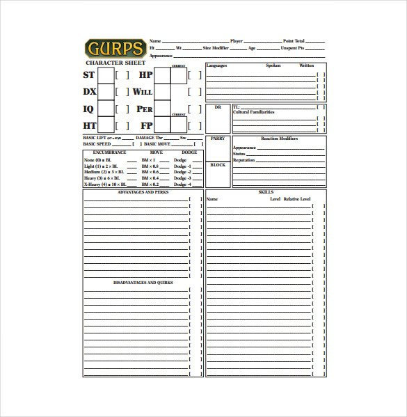 Roleplay Character Sheet Template 9 Sample Character Sheet Templates Free Sample Example