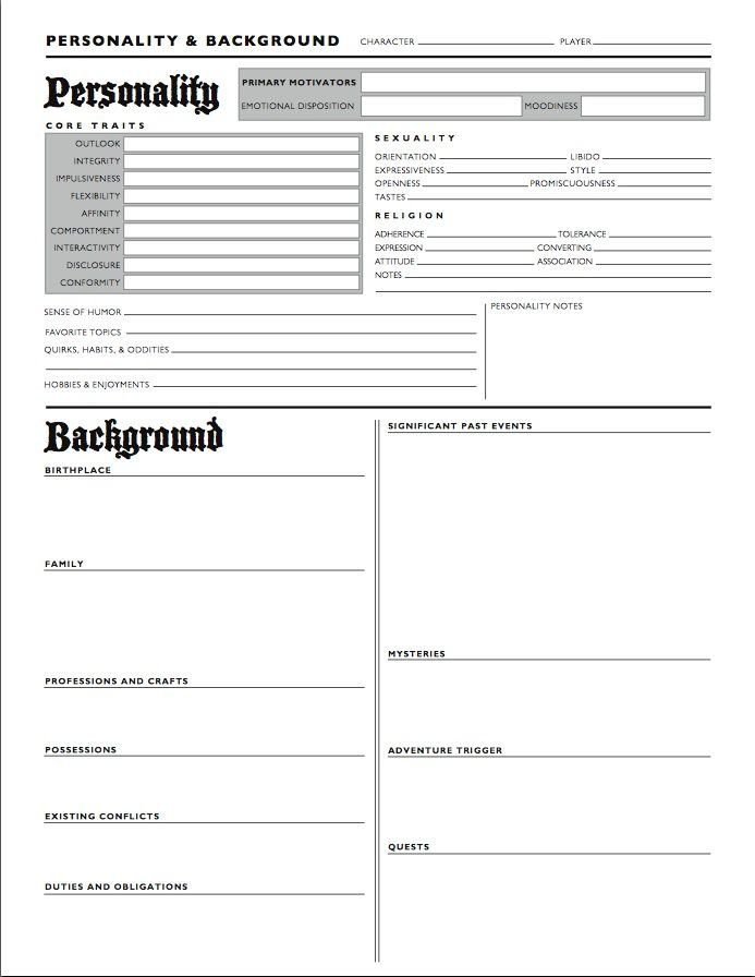 Roleplay Character Sheet Template ash's Guide to Rpg Personality & Background Character