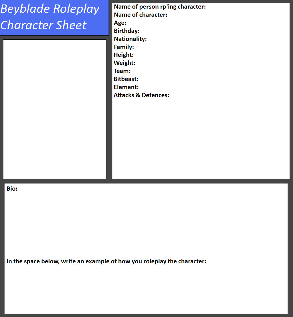 Roleplay Character Sheet Template Beyblad Roleplay Character Sheet by Tifafenrir09 On Deviantart