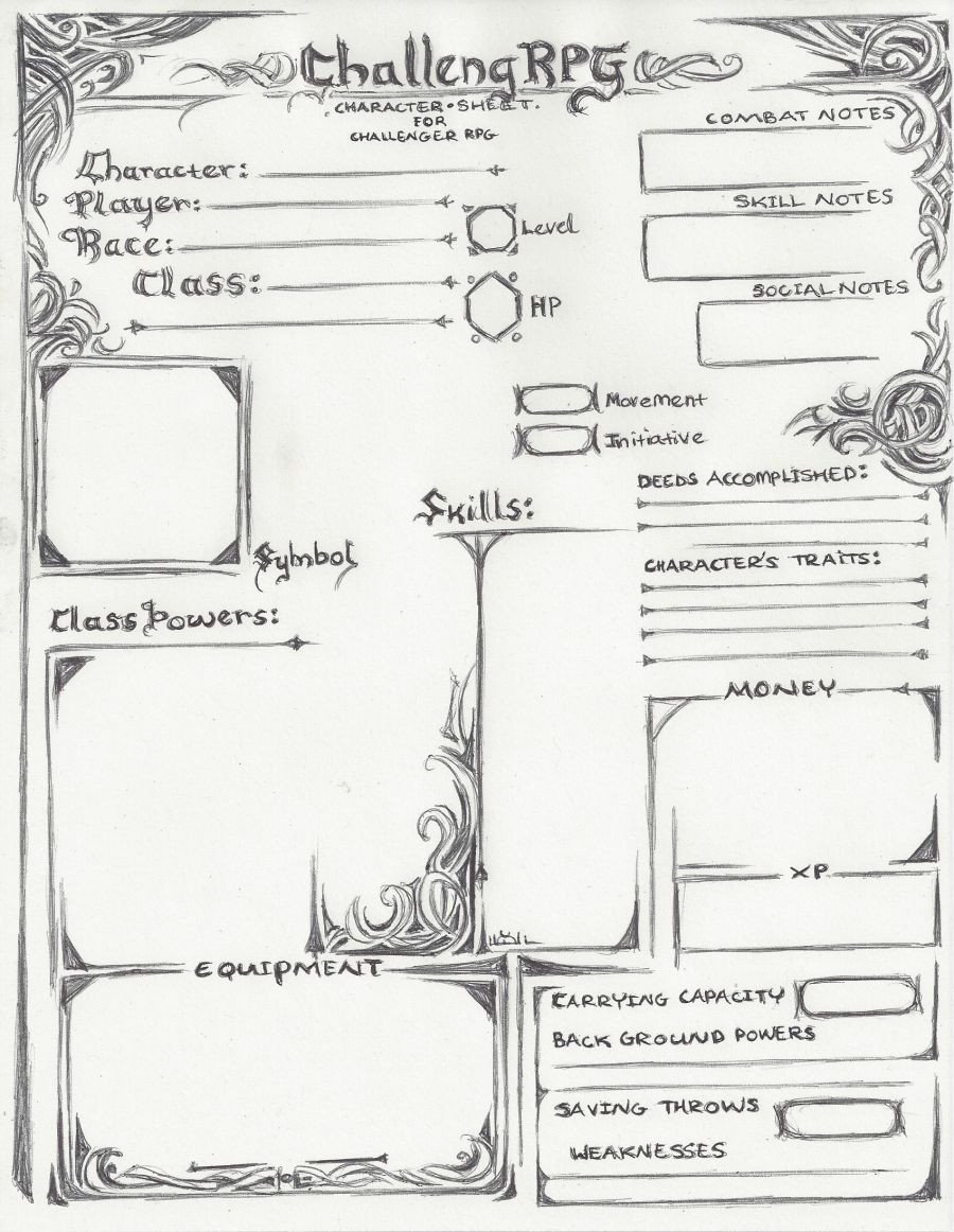 Challenger RPG Character sheet old version