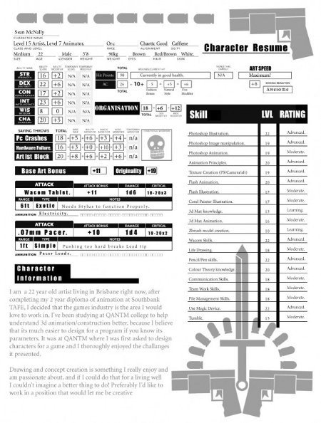 Roleplay Character Sheet Template D&d Character Sheet as Resume Neatorama