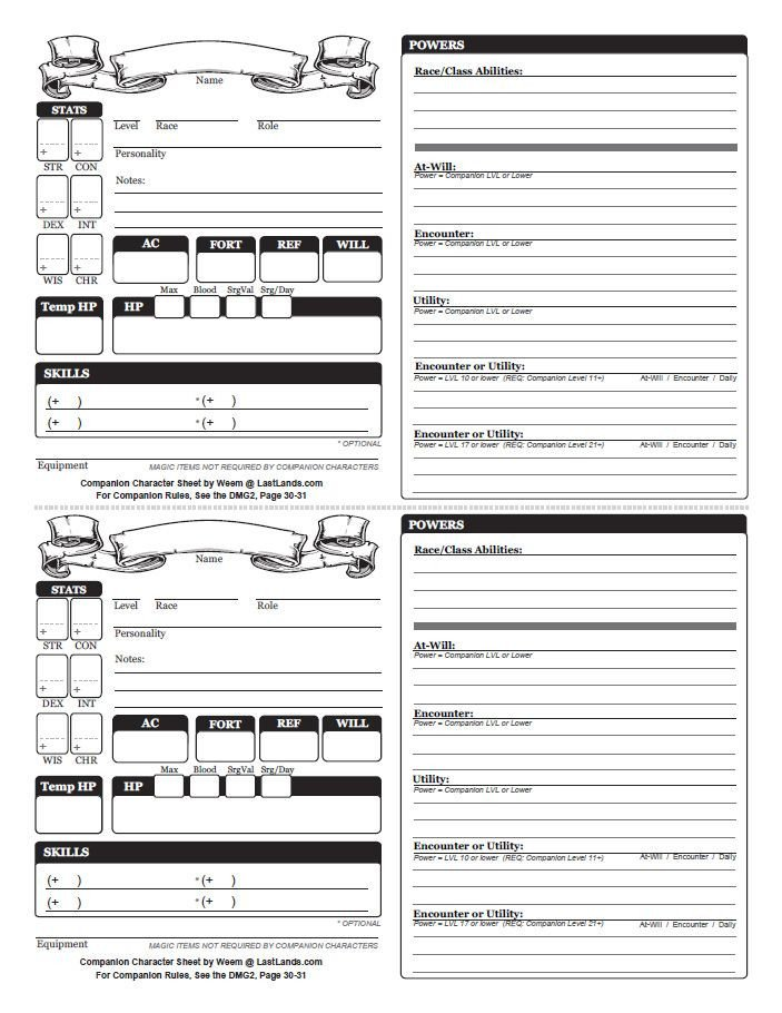 Roleplay Character Sheet Template Dungeons and Dragons Character Sheets