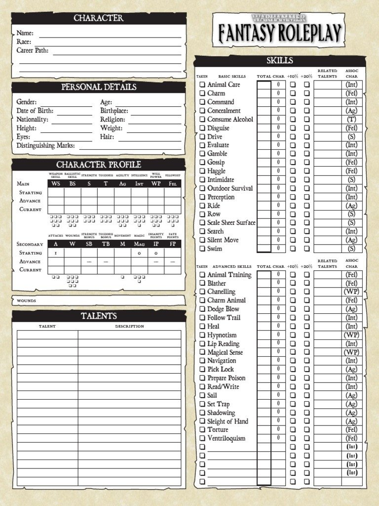 Roleplay Character Sheet Template Warhammer Fantasy Roleplay 2nd Edition Editable Character