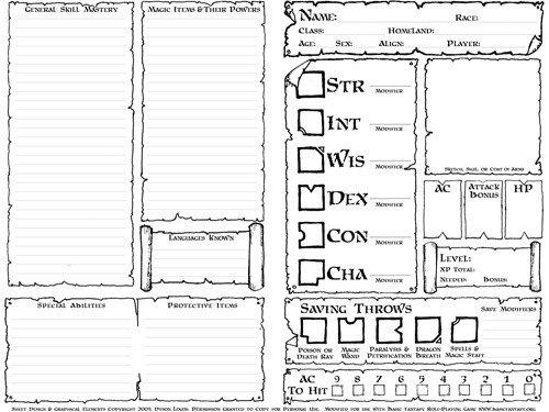 Rpg Character Sheet Template Character Sheets