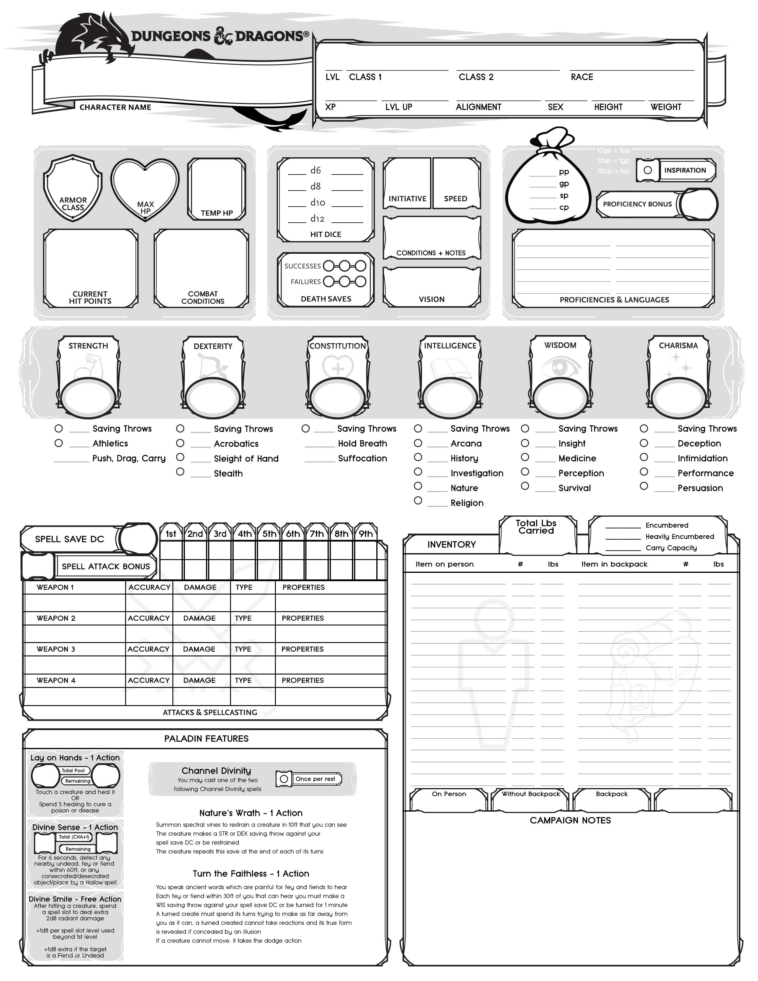 Rpg Character Sheet Template D&d Campaign Were