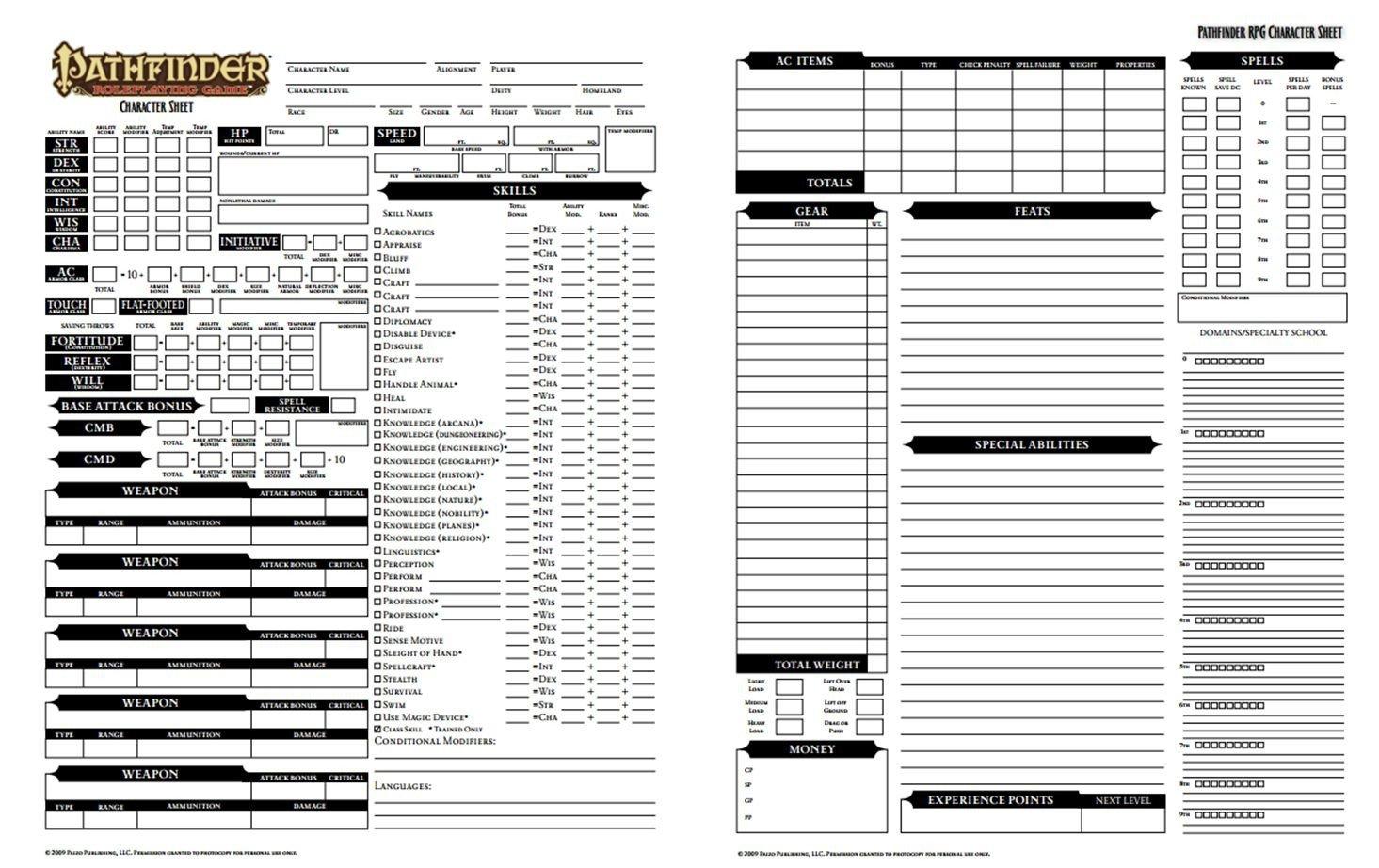 Rpg Character Sheet Template Pathfinder Character Sheet