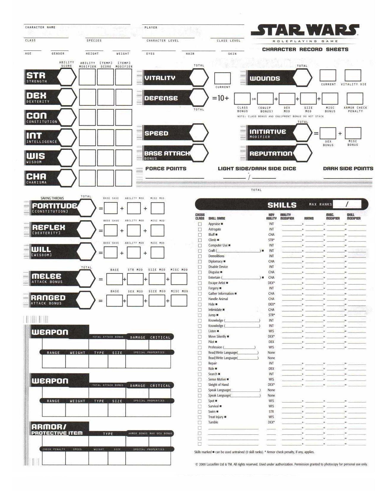Rpg Character Sheet Template Rpg Sheets