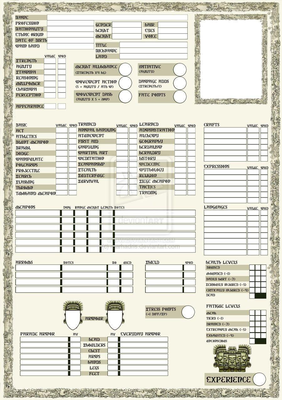 Rpg Character Sheet Template Rpg Sheets Rpg Character Sheet Page 1 by Marhadris