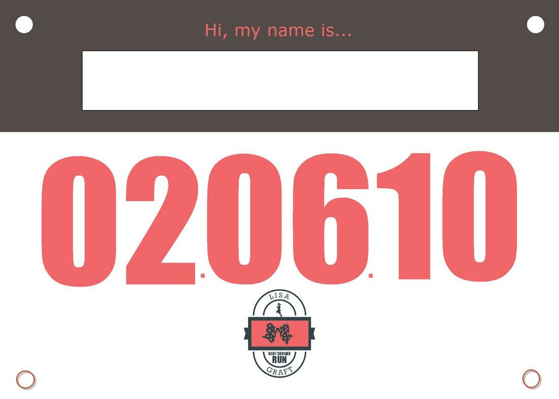 Running Bib Template Race Bib Name Tag for Running theme Baby Shower Guests