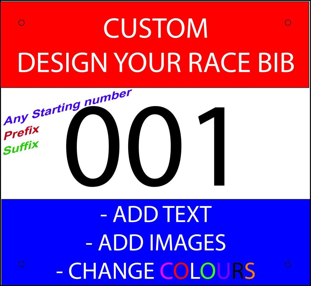 Running Bib Template Race Bibs Race Numbers Custom Printed Add Text Add