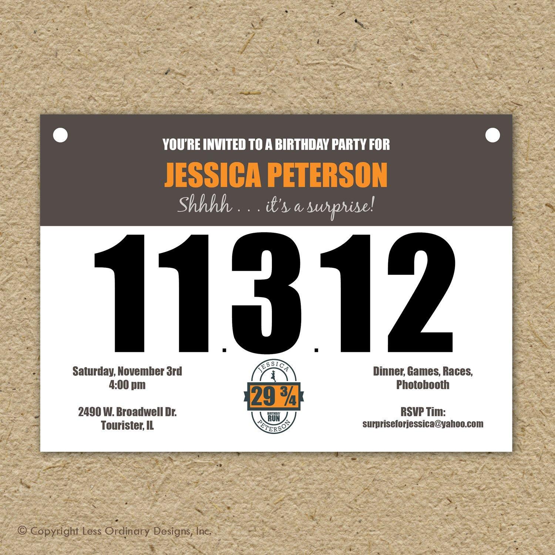 Running Bib Template Runner S Bib Birthday Party Invitation Marathon theme