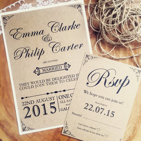 28 Rustic Wedding Invitation Design Templates PSD AI