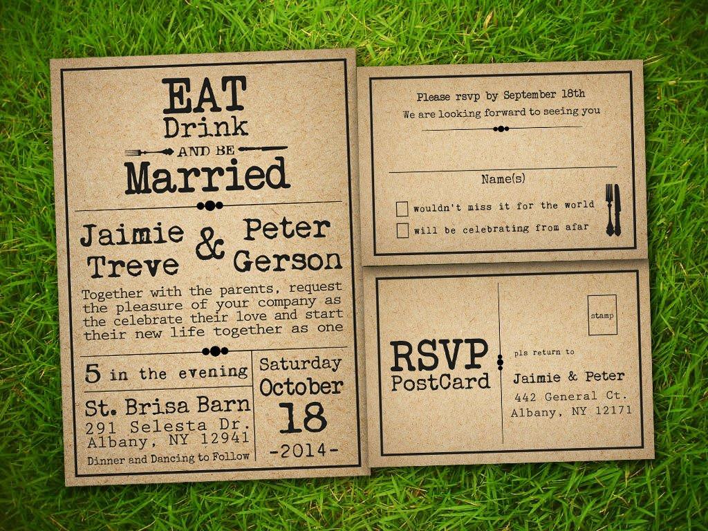 Rustic Wedding Invites Templates Etsy Template1
