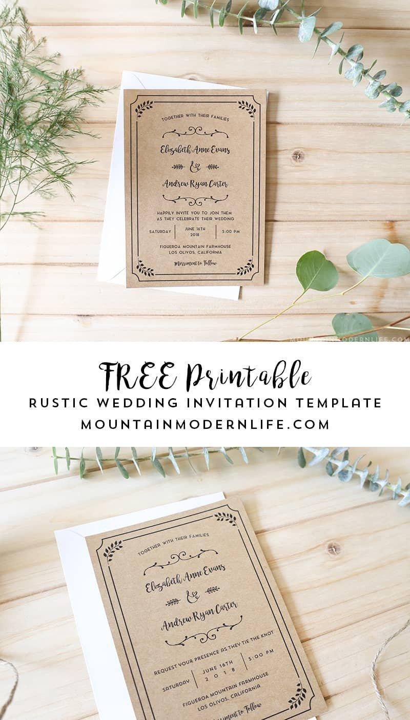 Rustic Wedding Invites Templates Free Printable Wedding Invitation Template
