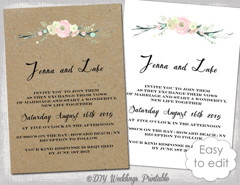 Rustic Wedding Invites Templates Printable Rustic Wedding Invitation Template Rustic