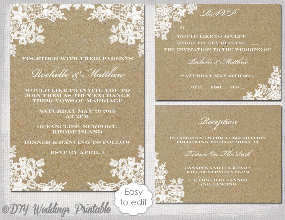Rustic Wedding Invites Templates Rustic Wedding Invitation Set Diy Rustic Lace