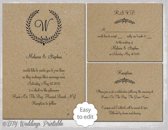 Rustic Wedding Invites Templates Rustic Wedding Invitation Set Leaf Garland