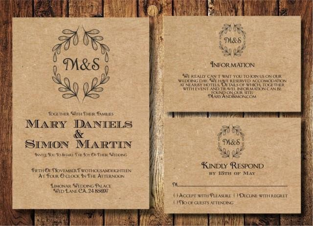 Rustic Wedding Invites Templates Rustic Wedding Invitation Template Set Kraft Paper Wreath