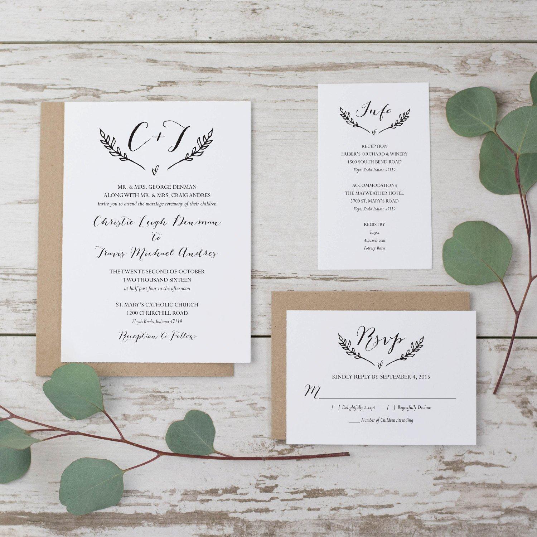 Rustic Wedding Invites Templates Sale Rustic Wedding Invitation Template Printable Wedding