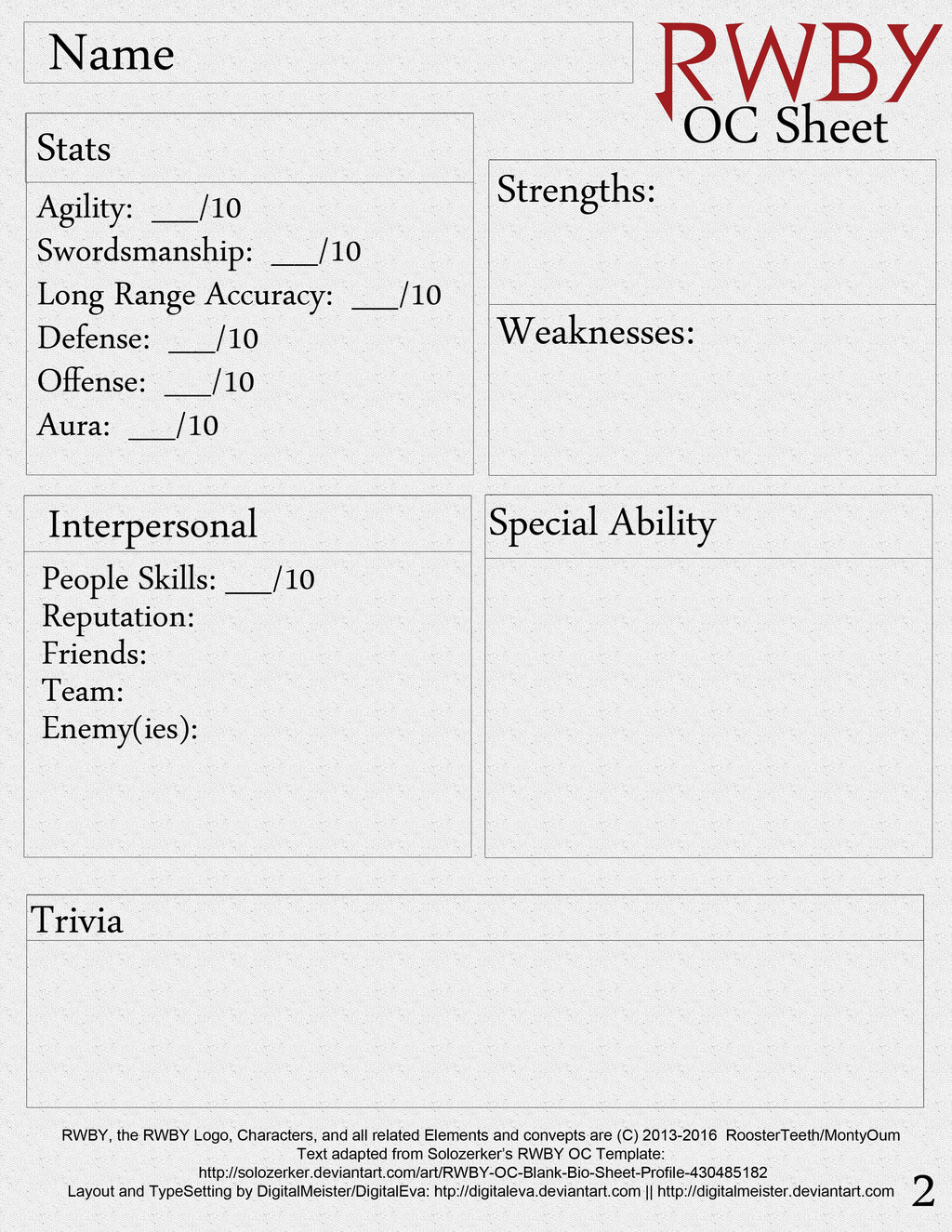 Rwby Oc Template Rwby Oc Character Sheet Printable Page 2 by Digitalmeister