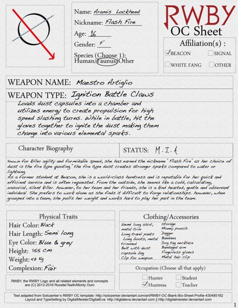 Rwby Oc Template Rwby Oc Sheet P 1 by Xxwinterslayerxx