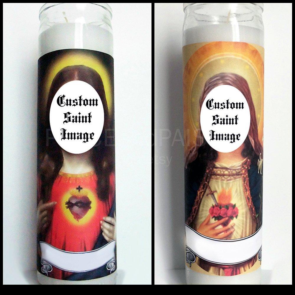 Saint Candle Template Custom Prayer Candle Saint Your Choice Pop Culture