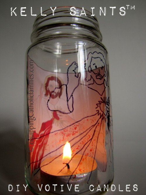 Saint Candle Template Diy Baby Jar Votive Candles Equipping Catholic Families