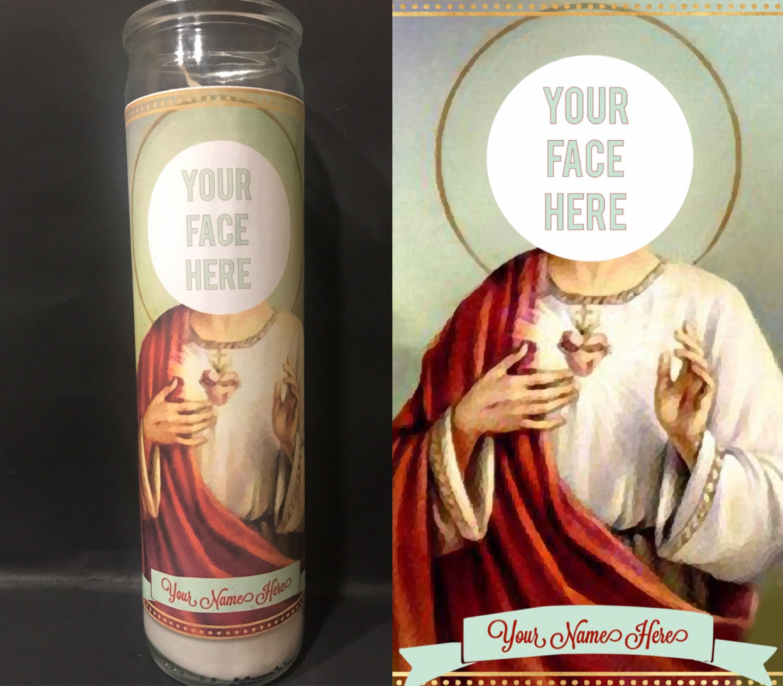 Saint Candle Template Personalized Custom Devotional Prayer Saint Candle E Face