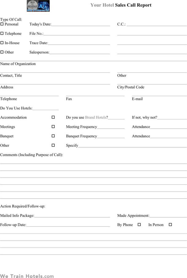 Sales Calls Report Template Sales Call Report Templates Find Word Templates
