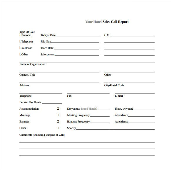 Sales Calls Report Template Sample Sales Call Report 14 Documents In Pdf Word