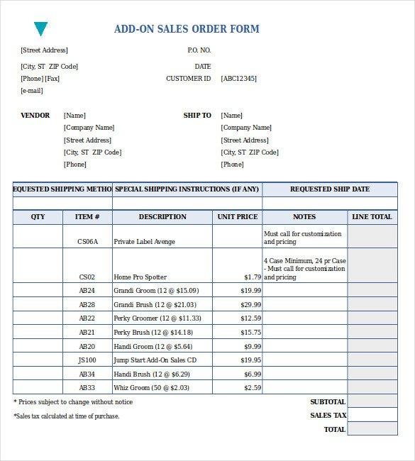Sales order forms Templates Sales order form
