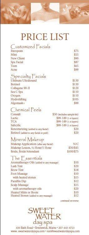 Salon Price List Template 10 Free Sample Spa Price List Templates Printable Samples
