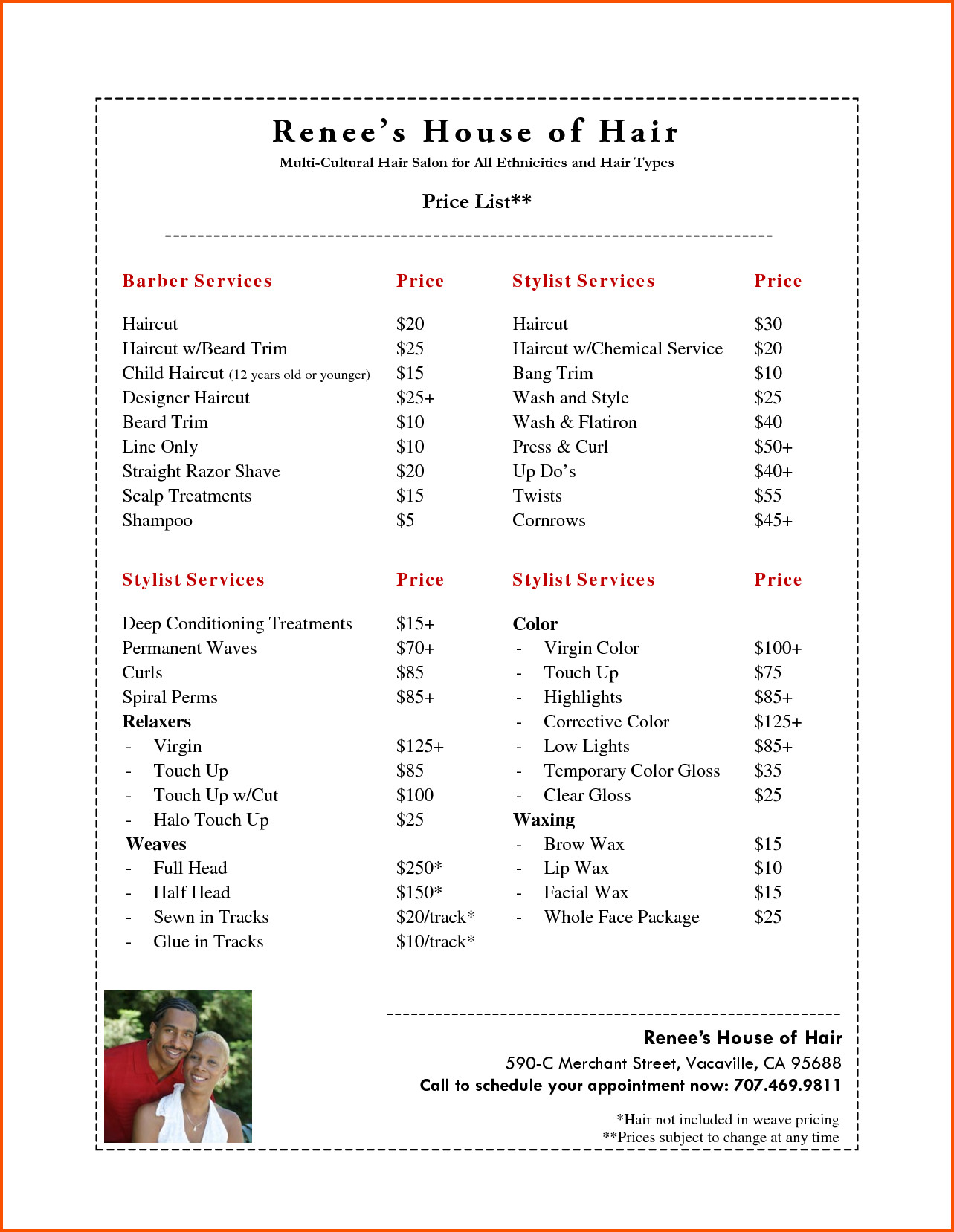 Salon Price List Template 10 Salon Price List Template